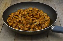 Newly baked mushrooms in sauteed pan. Very fresh and delicious stock photos