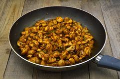 Newly baked mushrooms in sauteed pan. Very fresh and delicious stock images