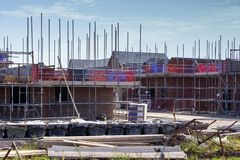 Newly build homes in scaffolding UK royalty free stock photos
