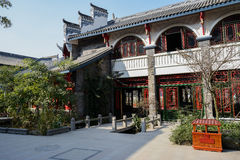 Newly built archaised Chinese building in sunny winter Royalty Free Stock Photography