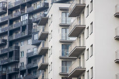Newly built block of flats. New flats - newly built houses Royalty Free Stock Photo