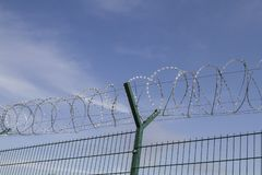 Newly built border fence. The current situation in Europe meant that countless kilometers of such fences were built at the national borders to protect against stock images