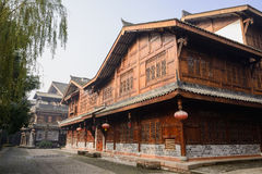 Newly built Chinese timber framed buildings in sunny winter morn Stock Photo