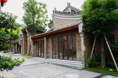 Newly built Chinese traditional buildings by slopy street Stock Image