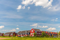 Newly built Dutch contemporary red family houses Royalty Free Stock Photography