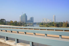 Newly built highway bridge over water in sunny winter morning Royalty Free Stock Photo