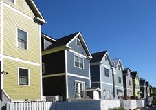 Newly built homes. Brightly colored new homes near downtown in Raleigh, North Carolina stock photo