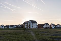 Newly built houses on the Waverley residential estate at Sunset stock images