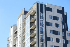 Newly built multi-storey residential building stock images