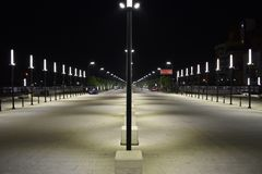The newly built `New Boulevard of Tirana`. October 2018 - Tirana, Albania. The newly built `New Boulevard of Tirana` near the train station opened for public royalty free stock photography