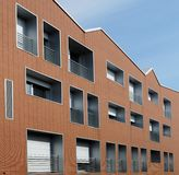 Newly built residential building. Made of bricks Stock Photo
