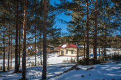 Newly Built Suburban House. During winter time Royalty Free Stock Photography