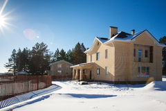 Newly Built Suburban House. During winter time Royalty Free Stock Photos