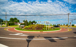 Newly built suburban roundabout. A new traffic roundabout in a northeast Ohio suburb Stock Photography