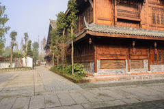 Newly built timber framed buildings in small town,China Royalty Free Stock Photos