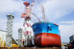 Newly built vessel launching of the shipyard Royalty Free Stock Images