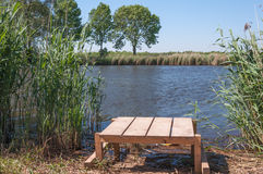 Newly built wooden angling platform Royalty Free Stock Photo