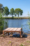 Newly built wooden angling platform Royalty Free Stock Photos