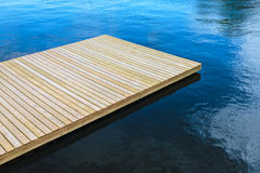 Newly built wooden landing stage Stock Photos