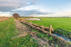 Recently cleaned ditch in a Dutch polder stock photography