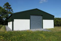 Newly Constructed Barn Stock Photo