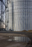 Newly constructed metal grain silo Royalty Free Stock Photo