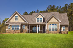 Newly Constructed Modern Home Facade. A Newly Constructed Modern Home Facade and Yard Stock Images