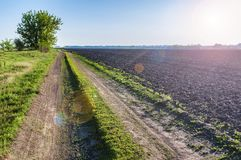 Newly cultivated field on the spring sun. Beautiful rural landscape stock images