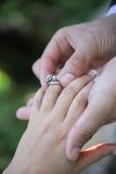Newly engaged couple Stock Photo