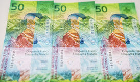Newly Fifty Swiss Franc bills Royalty Free Stock Photography
