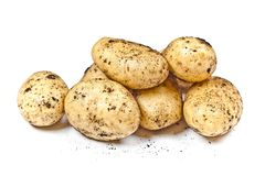 Newly harvested dirty potatoes heap isolated on white background. Fresh organic food stock image