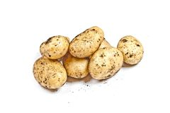 Newly harvested dirty potatoes heap isolated on white background. Fresh organic food stock photos