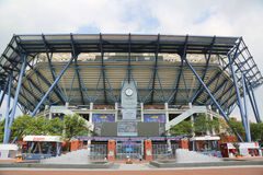 Newly Improved Arthur Ashe Stadium at the Billie Jean King National Tennis Center. NEW YORK - AUGUST 25, 2015: Newly Improved Arthur Ashe Stadium at the Billie stock images