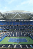Newly Improved Arthur Ashe Stadium with finished retractable roof at the Billie Jean King National Tennis Center. NEW YORK - AUGUST 25, 2016: Newly Improved Stock Photography