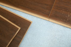 Newly Installed Brown Laminate Flooring Royalty Free Stock Image