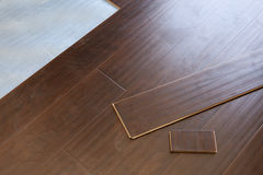 Newly Installed Brown Laminate Flooring Stock Images