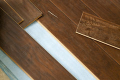 Newly Installed Brown Laminate Flooring Royalty Free Stock Photography