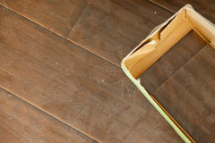 Newly Installed Brown Laminate Flooring Stock Image