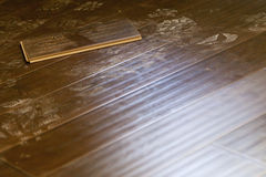 Newly Installed Dusty Brown Laminate Flooring Royalty Free Stock Photography