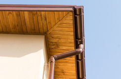 Newly installed guttering and drainpipe Royalty Free Stock Image