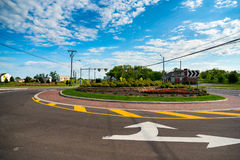Newly installed traffic circle. A recently installed traffic circle, or roundabout, in Twinsburg, Ohio stock photos