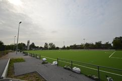 Newly laid artificial turf, football pitch on the football stadium.  royalty free stock photo