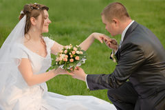 Newly-married couple. Pair young men in wedding day Stock Photo
