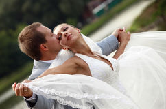 Newly-married couple. In park Stock Images