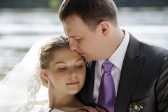 Newly-married couple. On the river Stock Photo
