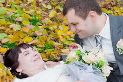 A newly-married couple. A play of a newly-married couple Stock Photo