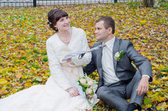 A newly-married couple. A play of a newly-married couple Royalty Free Stock Image