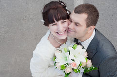 A newly-married couple. A play of a newly-married couple Stock Images