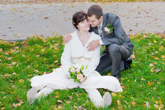 A newly-married couple Royalty Free Stock Photo