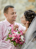 Newly married couple. Vertical portrait happy newly married couple , romance embrace outdoor Stock Photography